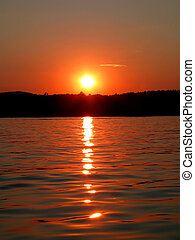 solnedgång, på, den, insjö