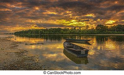 solnedgång, på, den, loire flod, in, frankrike