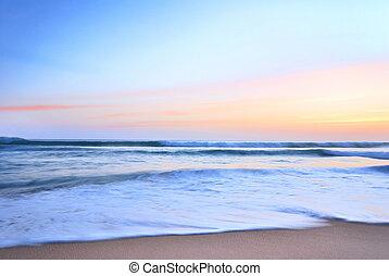 solnedgång, på, hav