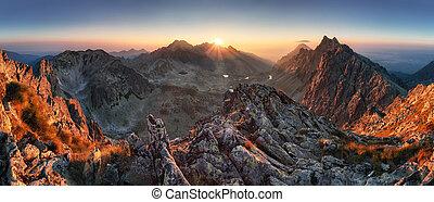 solnedgång, panorama, fjäll, natur, höst landskap, slovakien