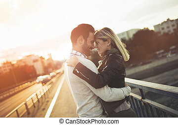 solnedgång, par, avnjut, kärlek, romantisk
