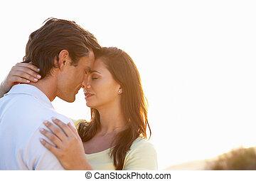solnedgång, par, kärlek, romantisk, ung