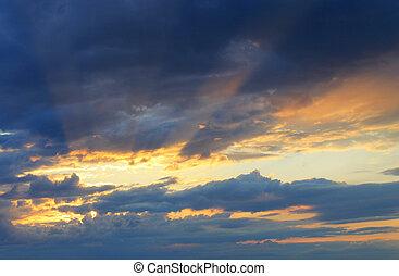 solnedgång,  sky