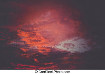 solnedgång, skyn, bakgrund, retro