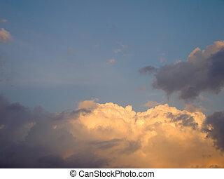 solnedgång, skyn