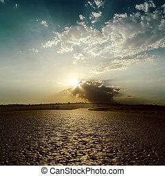 solnedgång, skyn, Uppe, väg, nära