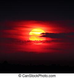 solnedgång, sol
