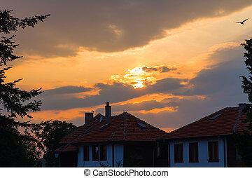 solnedgång, soluppgång, sky, hem