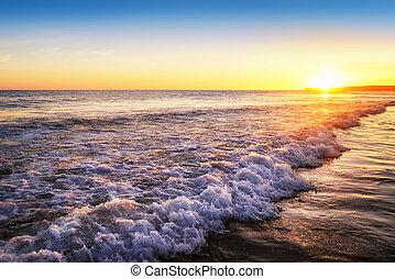 solnedgång, stilla, strand