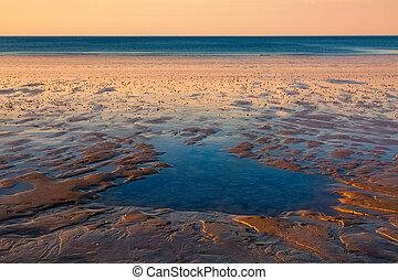 solnedgång, stranden