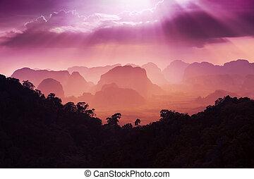 solnedgång, synhåll, av, den, skönhet, mountains