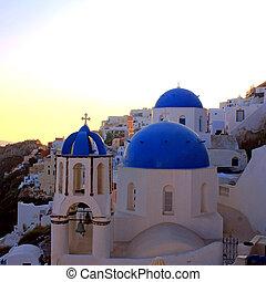 solnedgång, synhåll, med, ortodox kyrka, santorini ö, grekland