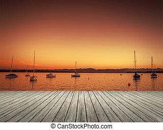 solnedgång, tutzing