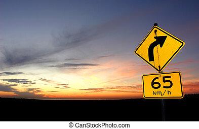 solnedgång, vägmärke