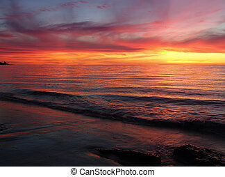 solnedgång, vågor