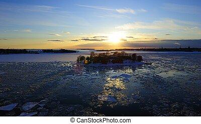 solnedgång, Vinter