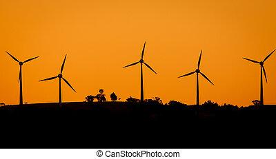 solnedgång, windfarm