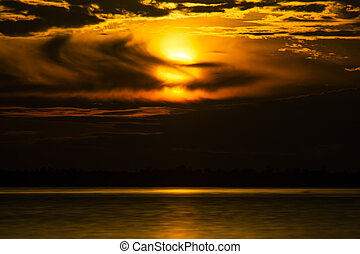 solnedgångsky, insjö, regna, cloud.