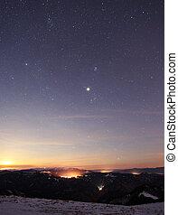 solnedgångsky, stjärna, bakgrund, lätt, soluppgång, natur