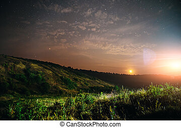 solnedgångsky, stjärna, bakgrund, lätt, soluppgång, natur, för, design