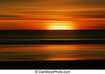 solnedgang, abstrakt, strand