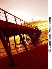 solnedgang, anlægsbroen