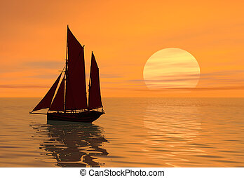 solnedgang, båd