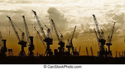 solnedgang, baggrund, �construction, kraner, silhuet