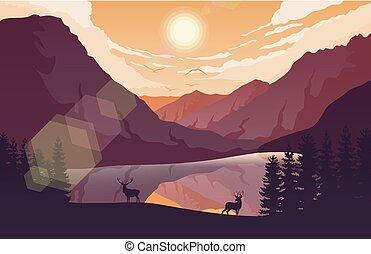 solnedgang, bjerge, landskab, hos, skov, og, to rådyr, nær, en, sø