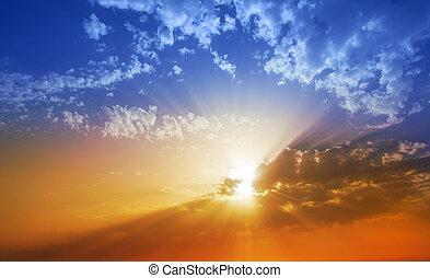 solnedgang, dramatisk himmel, skyer, ind, la, palma