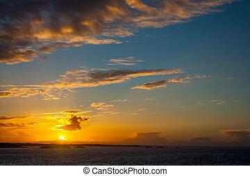 solnedgang, efter, storm