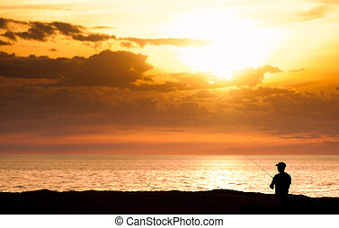 solnedgang, fiske