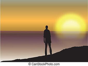 solnedgang, hav, mand