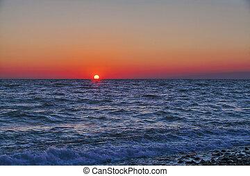 solnedgang, hav, sommer, middelhavet, landskab, smukke