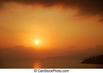 solnedgang hav