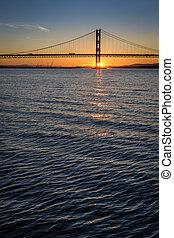 solnedgang, hen, den, frem, vej, bro, ind, edinburgh
