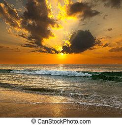 solnedgang, hen, den, hav