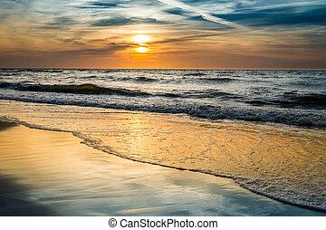 solnedgang, hen, den, hav, ind, sommer