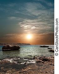 solnedgang, hen, den, sea.