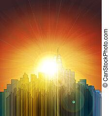 solnedgang, hen, den, stor, city., abstrakt, baggrund., konstruktion, en, poster.