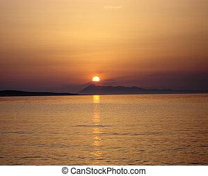 solnedgang, hen, horisont