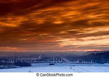 solnedgang, hen, indefrossen, by