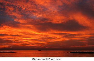 solnedgang, hen, middelhavet, sea.