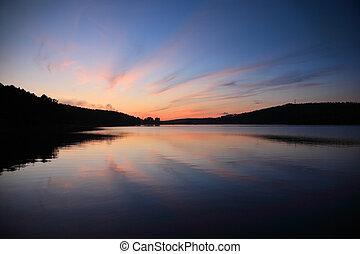 solnedgang, hen, sø