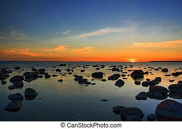 solnedgang, hos, balti, sea.
