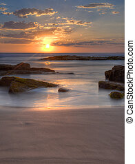 solnedgang, hos, birubi, strand, australien