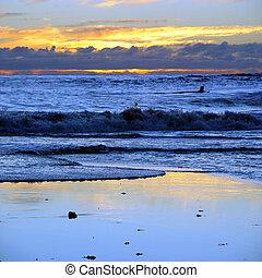 solnedgang, hos, californien., strand
