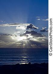 solnedgang, hos, indisk ocean