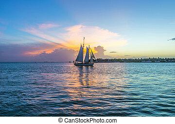solnedgang, hos, nøgle vest, hos, sejle båd