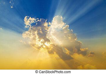 solnedgang, hos, sol stråle
